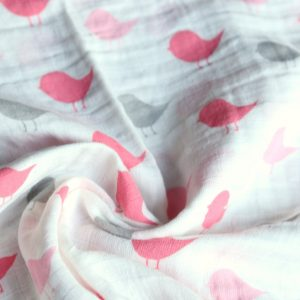 SWB-010(2) Cookiie Blanket swaddle wrap - muslin - Pink bird chirp
