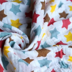 SWB-011(1) Cookiie Blanket swaddle wrap - muslin - multi colored stars