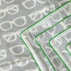 SW3-014(2) Cookiie Blanket swaddle wrap -Dohar - eyeglasses green piping