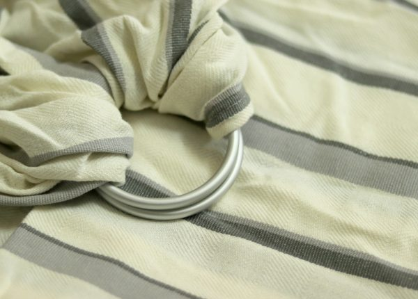 WS-008(1) cookiie woven ring sling - creme grey stripes
