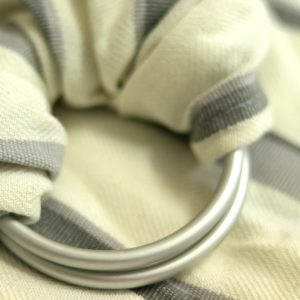 WS-008(2) cookiie woven ring sling - creme grey stripes