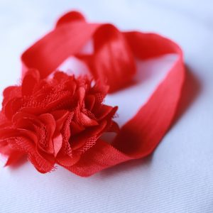 HBA 22 Cookiie baby Headband Net Flower- Large Red