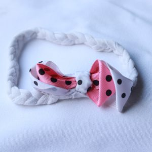 HBA 17 Cookiie baby Headband polka dot bow