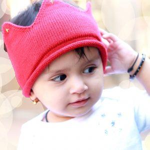 HBA-28(2) Baby Wollen Crown - Red