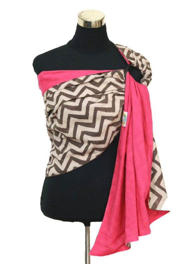 S- 3053 (2) cookiie ring sling baby carrier double layer cotton- chevron java on rosepink