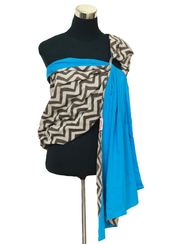 S- 3059 (2) cookiie ring sling baby carrier double layer cotton- chevron java on azure block