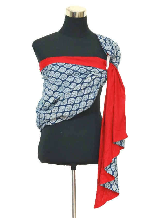 S- 3058 (1) cookiie ring sling baby carrier double layer cotton- indigo damask on scarlet