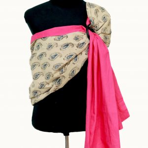 S- 3057 (1) cookiie ring sling baby carrier double layer cotton- peacock paisley on fushcia