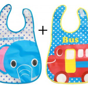 WBA 13 (2) baby bib set with velcro elephant blue