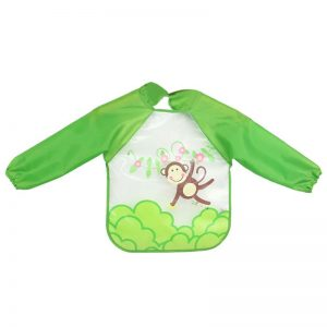 WBA 16 baby feeding bib green full sleeves/ monkey swinging