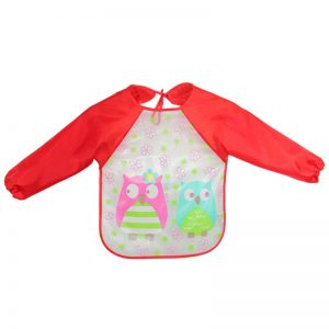 WBA 17 baby feeding bib full sleeves red owl